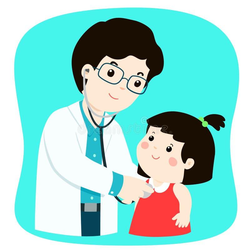 医疗检查的小女孩与男性儿科医生医生 皇族释放例证