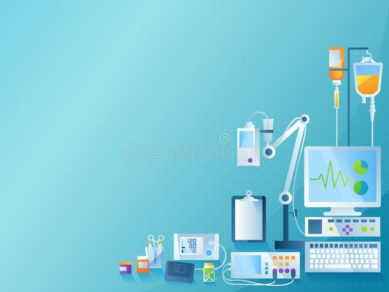 医疗概念背景 颜色在现代平的设计的传染媒介例证 向量例证