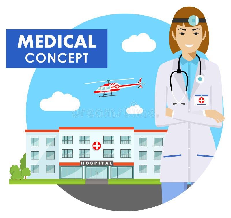 医疗概念 紧急医生妇女的详细的例证制服的在与医院和飞行的背景 向量例证