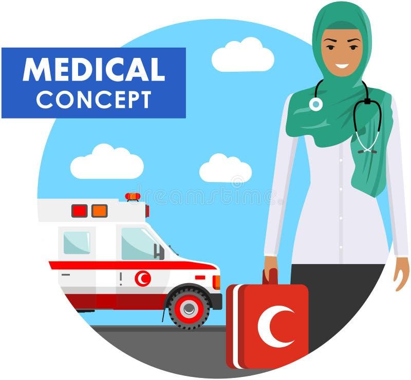 医疗概念 阿拉伯回教紧急医生妇女的详细的例证制服的在与救护车汽车的背景在舱内甲板 皇族释放例证
