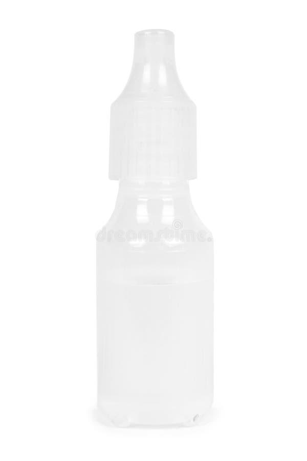 医疗滴管瓶,有液体的容器 背景查出的白色 医学解答 免版税库存图片