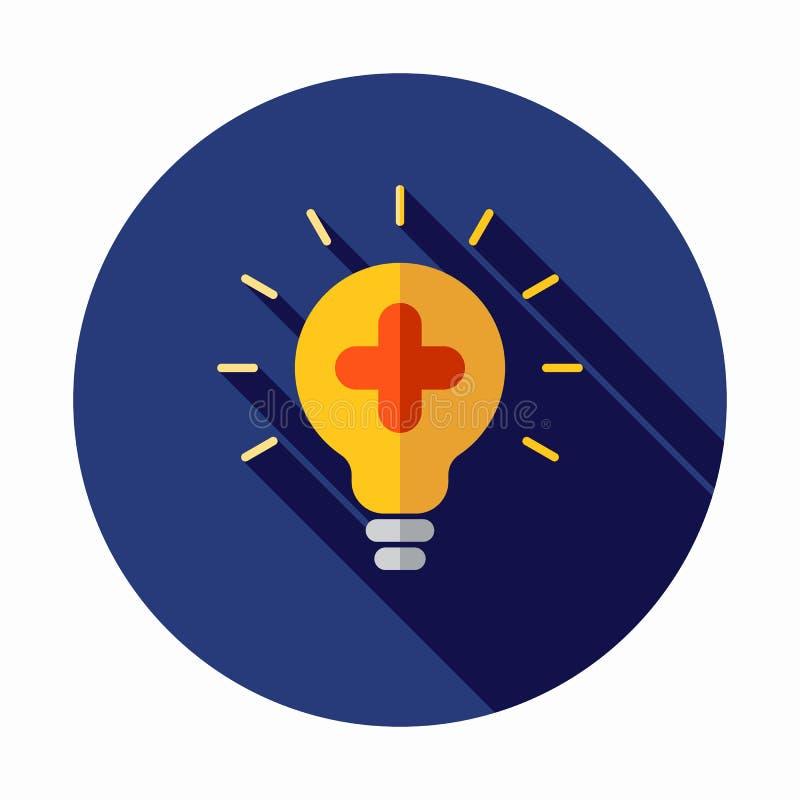 医疗电灯泡传染媒介象 创造想法象 添加图标 正符号 电灯泡象 灯例证 库存例证