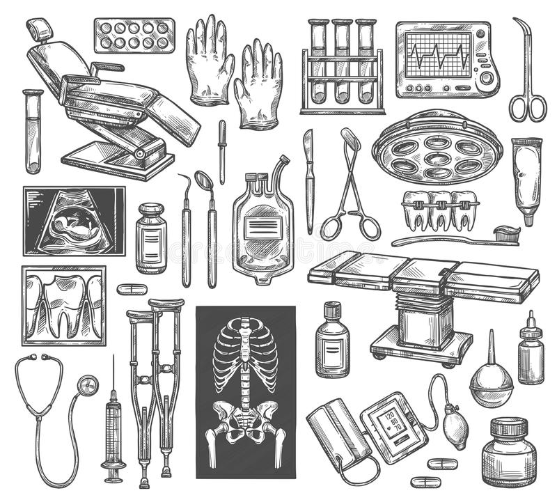 医疗疗法手术传染媒介剪影设备 皇族释放例证