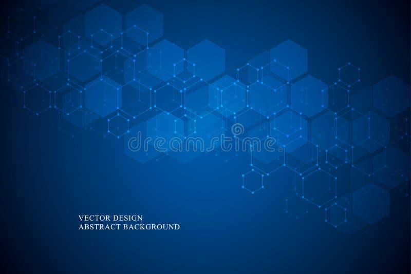 医疗的六角分子结构,科学和数字技术设计 抽象几何传染媒介背景 库存例证