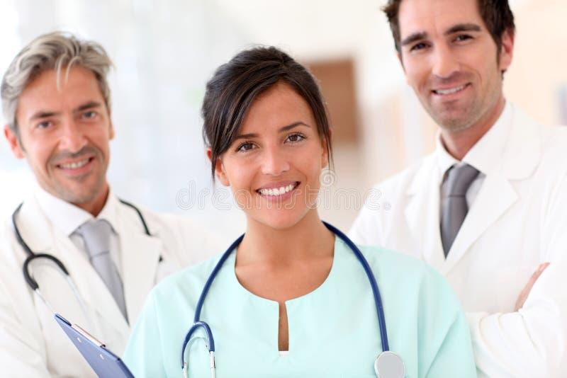 医疗纵向微笑的小组 库存照片
