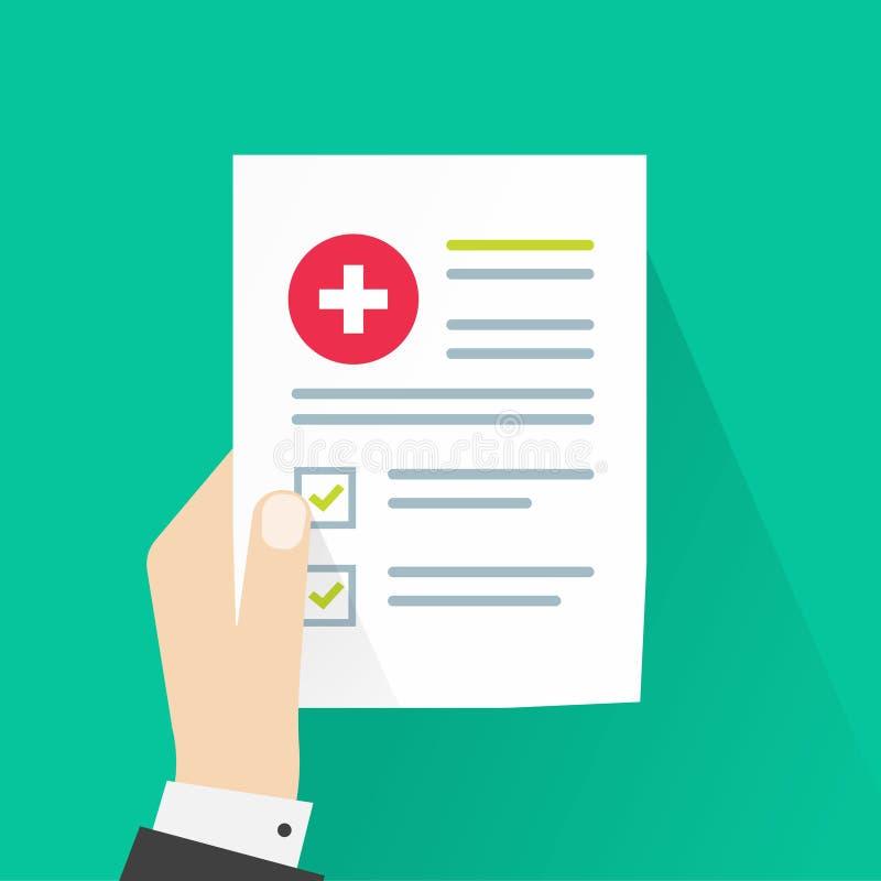 医疗结果导航例证、平的动画片纸张文件和身体检查分析和好结果,耐心手 向量例证