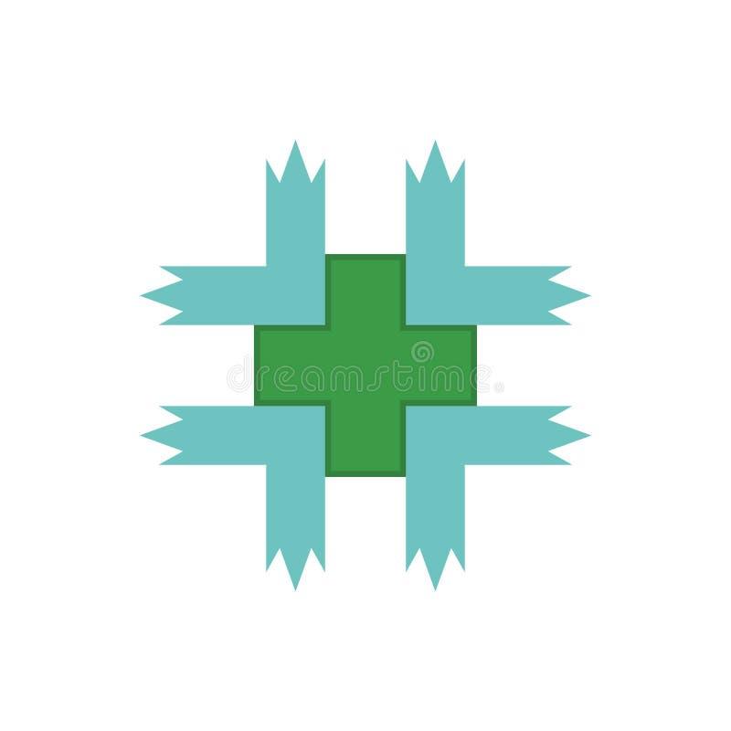医疗绿色商标传染媒介 库存例证