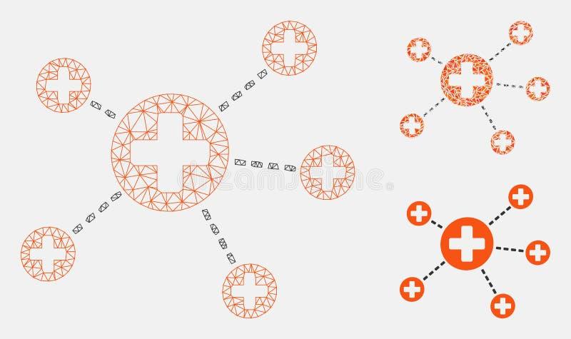 医疗联系导航滤网第2个模型和三角马赛克象 库存例证