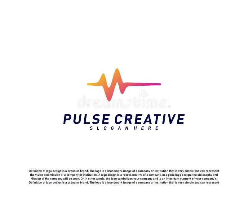 医疗脉冲或波浪商标设计观念 健康脉冲商标模板传染媒介 象标志 向量例证