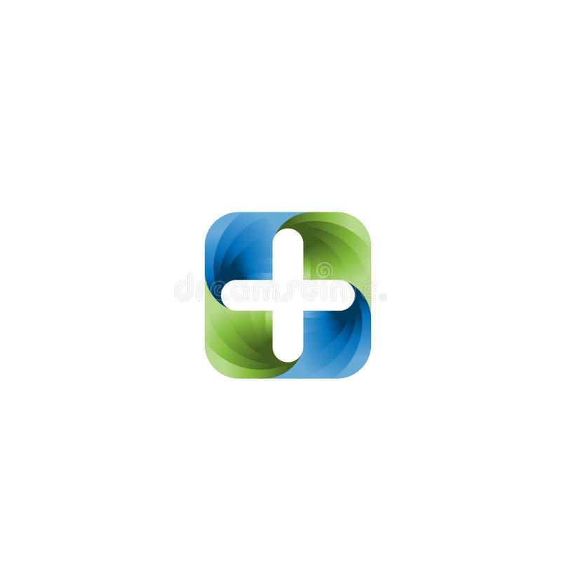 医疗药房商标设计模板 创造性的医疗概念商标设计模板 传染媒介商标模板 向量例证