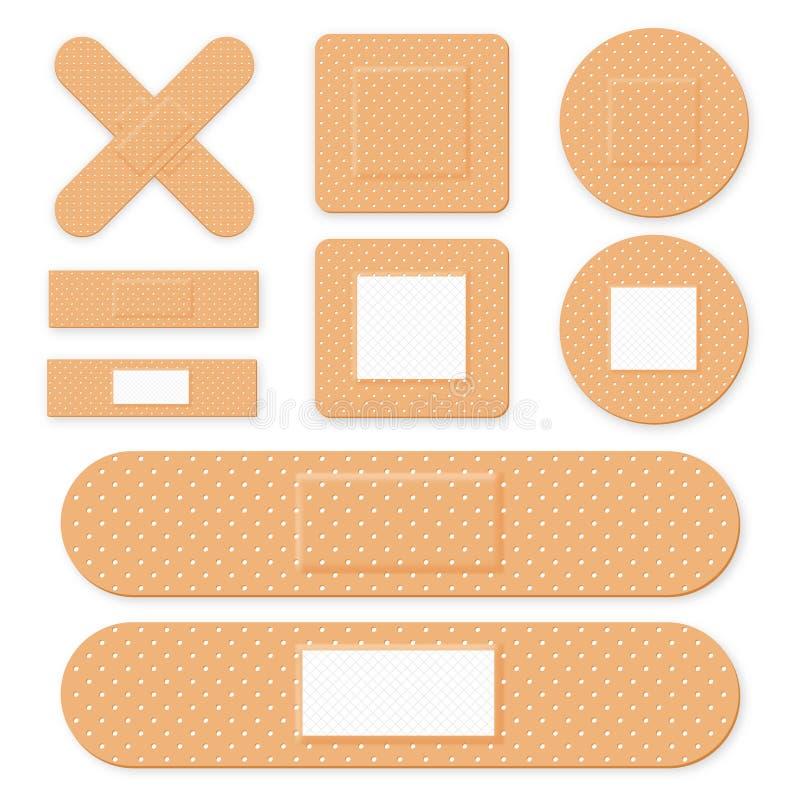 医疗补丁,黏着性绷带 设置有弹性医疗膏药用不同的形状 现实急救带膏药 向量例证