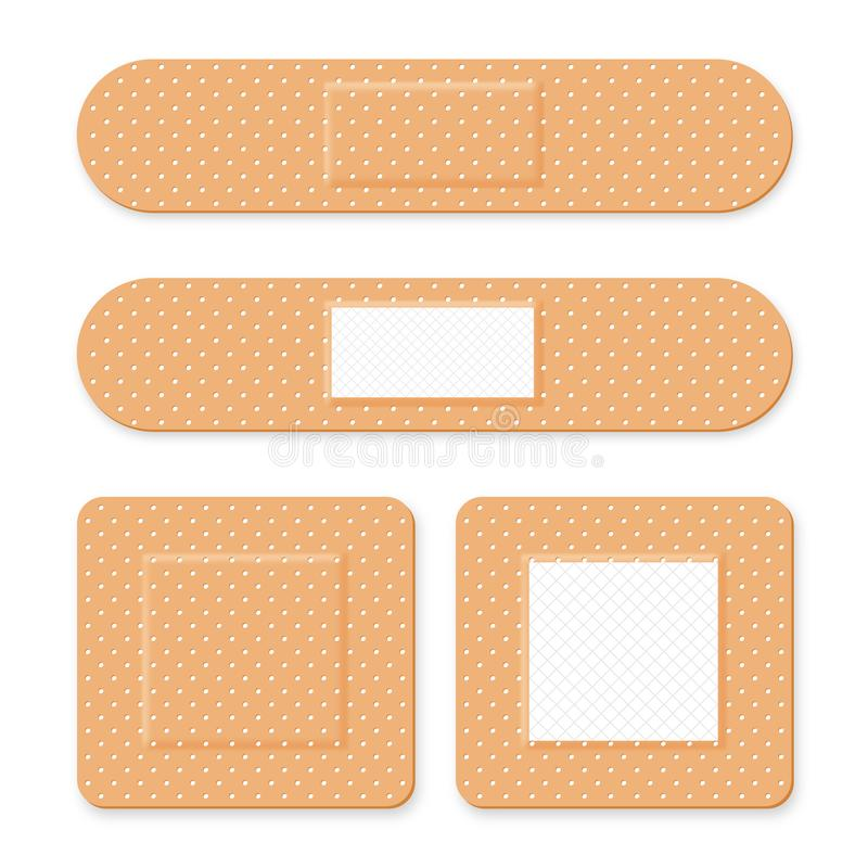 医疗补丁,黏着性绷带 设置有弹性医疗膏药用不同的形状 现实急救带膏药 库存例证