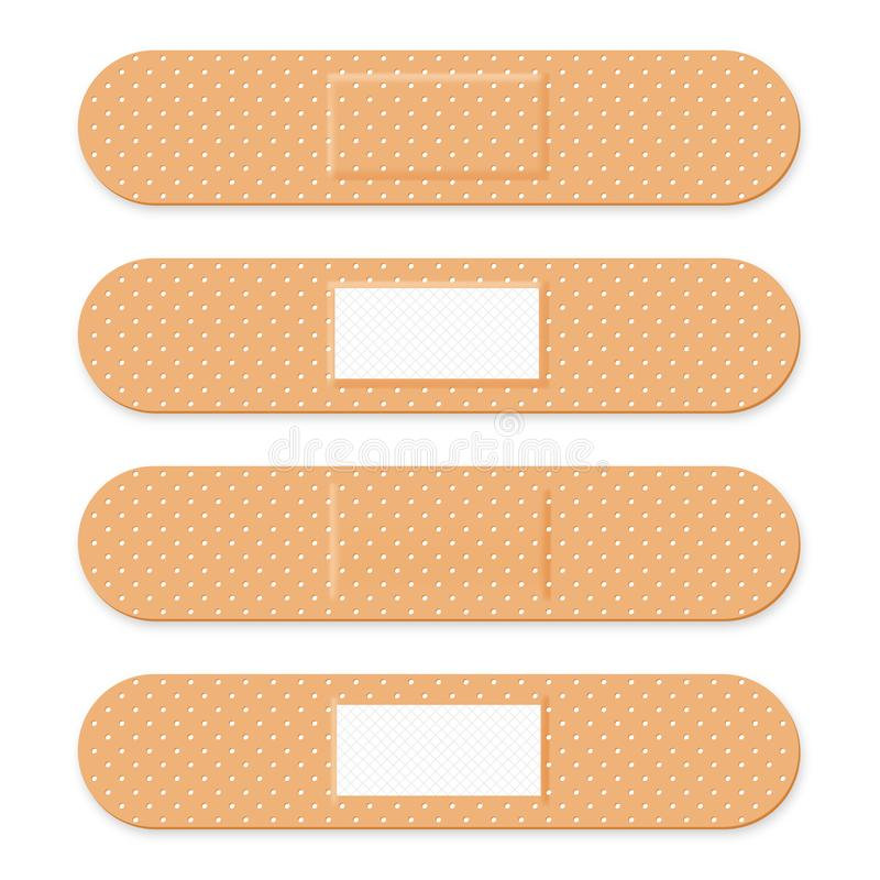 医疗补丁,黏着性绷带 设置有弹性医疗膏药用不同的形状 现实急救带膏药 皇族释放例证