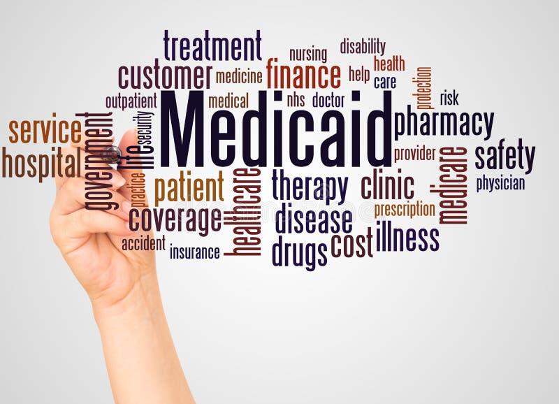 医疗补助词云彩和手有标志概念的 库存例证