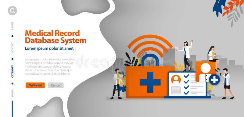医疗记录数据库系统,帮助记录患者的疾病历史的wifi互联网 传染媒介例证概念可以是用途fo 向量例证