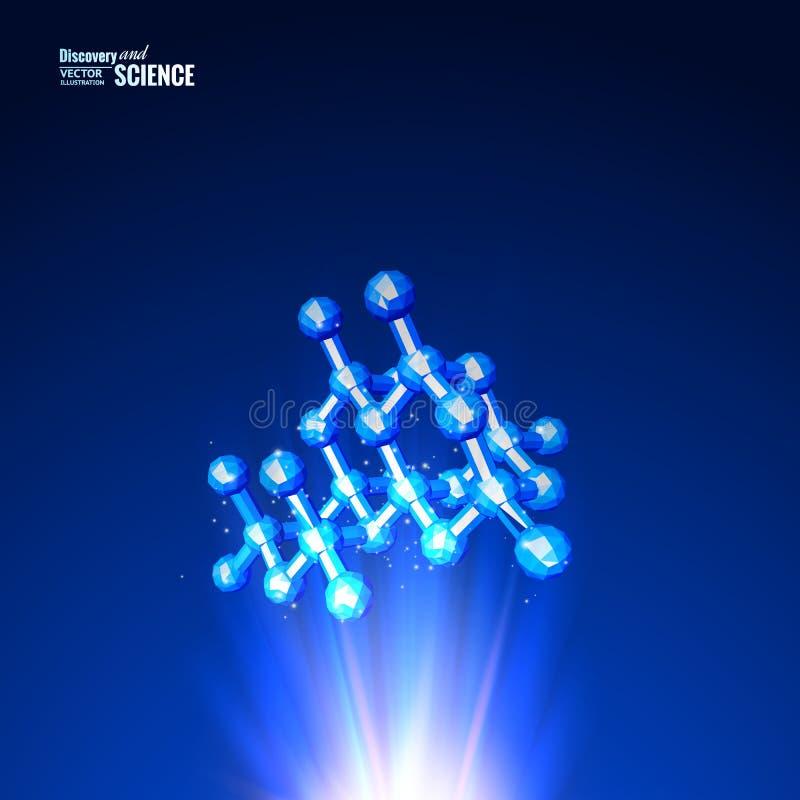 医疗设计的模板 原子科学分子 抽象滤网ovr蓝色背景 向量例证