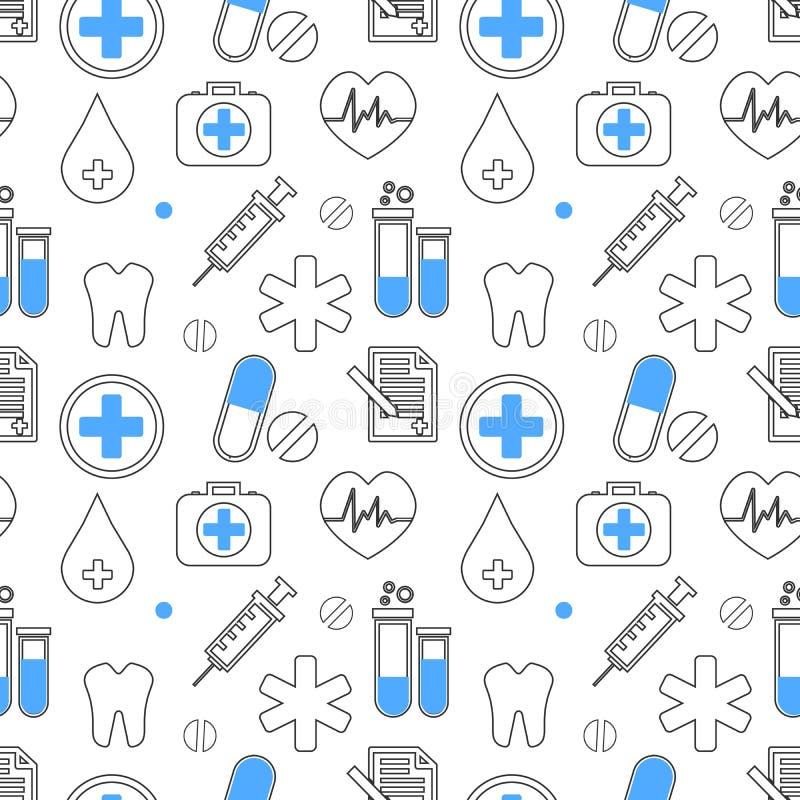 医疗象传染媒介无缝的样式 医疗保健标志汇集 医学设备剪影例证 皇族释放例证