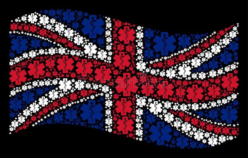 医疗象征象挥动的英国旗子拼贴画  皇族释放例证