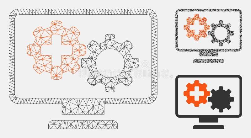 医疗过程适应监测传染媒介滤网接线框模型和三角马赛克象 向量例证