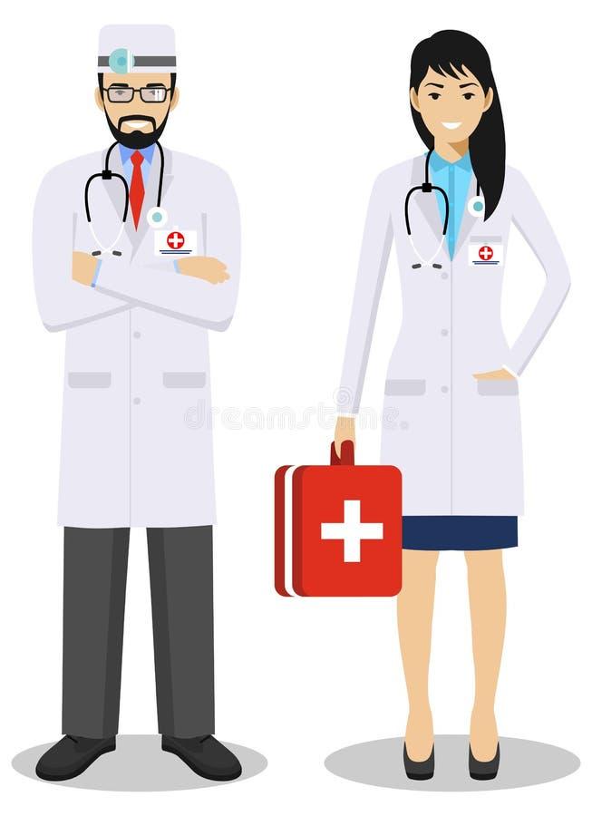 医疗配合概念 医务人员男人和妇女,紧急医生,平的样式的护士详细的例证夫妇  向量例证