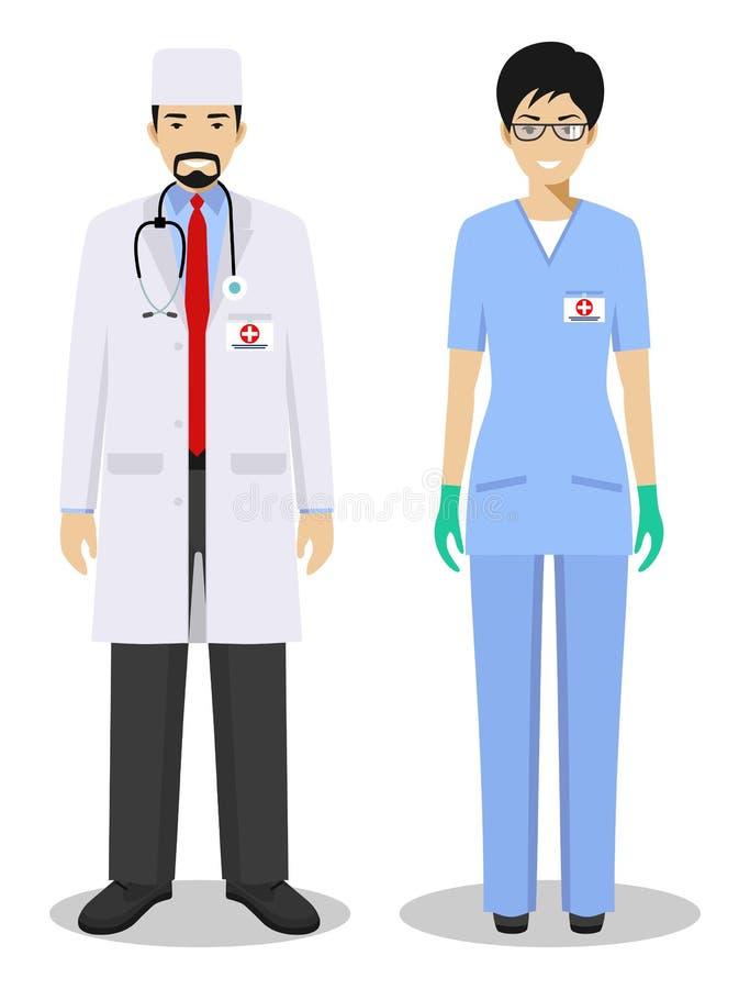 医疗配合概念 医务人员男人和妇女,紧急医生,平的样式的护士详细的例证夫妇  皇族释放例证