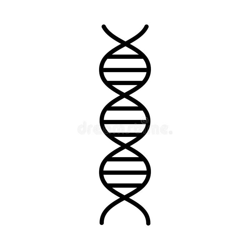 医疗配药抽象脱氧核糖核酸基因螺旋,在白色背景的简单的黑白象 r 向量例证