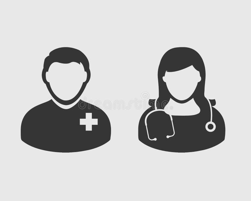 医疗队象 在灰色背景的男性和女性医生标志 库存例证