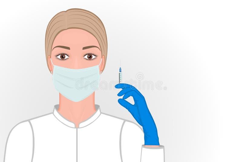 医疗面具的Injection_Female医生与注射器在手中射入或接种的 库存例证