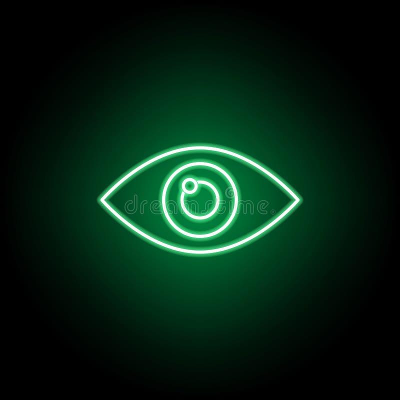 医疗,在霓虹样式的眼睛象 医学例证的元素 标志和标志象可以为网,商标,流动应用程序使用, 库存例证