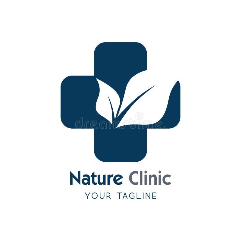 医疗eco商标象设计模板 自然诊所 传染媒介标志 o 库存例证