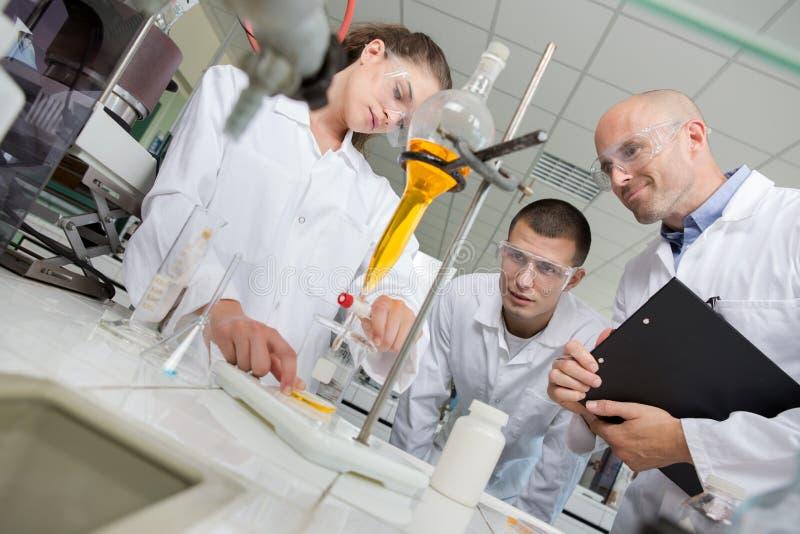医科学生与显微镜一起使用在大学 库存照片