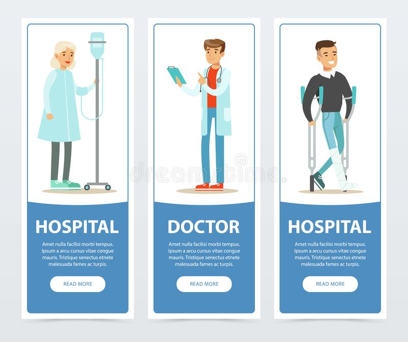 医院和医生横幅设置了,身体检查和治疗平的传染媒介元素网站或流动app的 向量例证