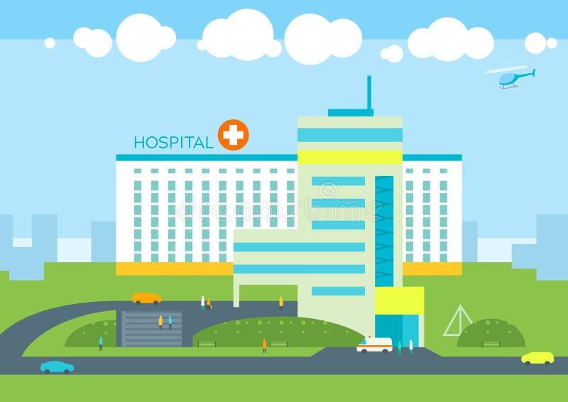 医院大厦,医生患者诊所,医疗救护车的汽车 库存例证