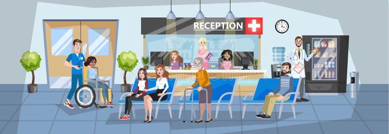 医院招待会内部 等待在队列的人们 库存例证