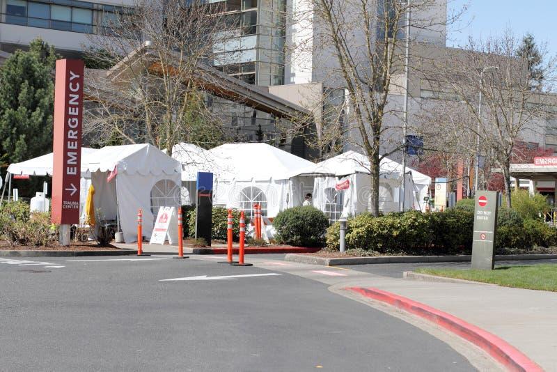医院财产外部医院帐篷 库存图片