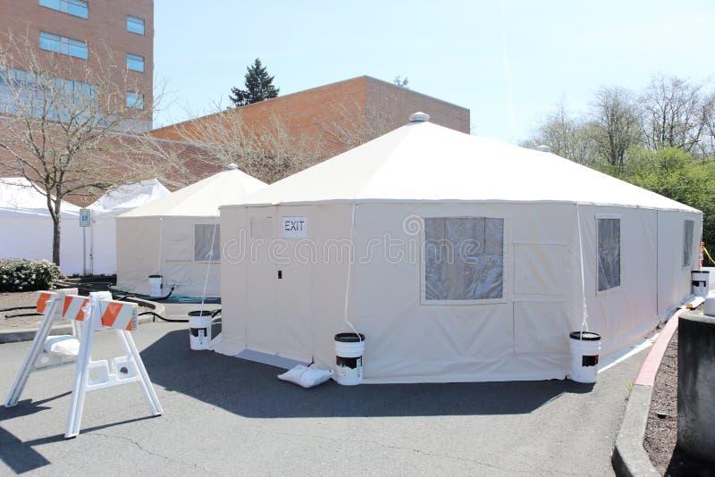 医院财产外部医院帐篷 库存照片