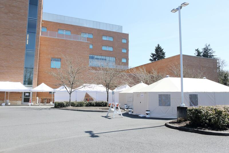 医院财产外部医院帐篷 免版税库存照片