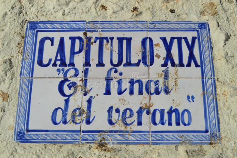 匾在内尔哈致力了蓝色夏天系列由安东尼奥Mercero 免版税库存照片