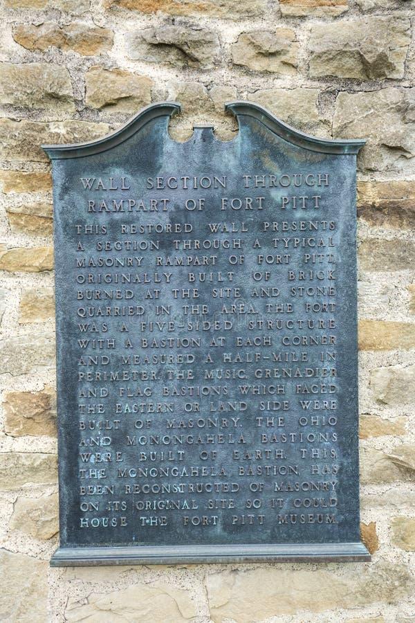 匾纪念的堡垒皮特在点国家公园,匹兹堡 免版税库存照片