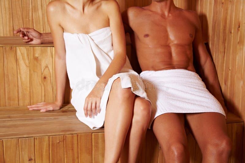 匿名夫妇蒸汽浴 库存图片