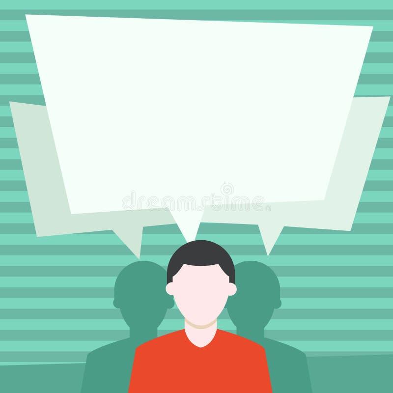 匿名的人有两个阴影,并且其中每一个有他们自己讲话泡影重叠 医疗的创造性的背景想法和 向量例证
