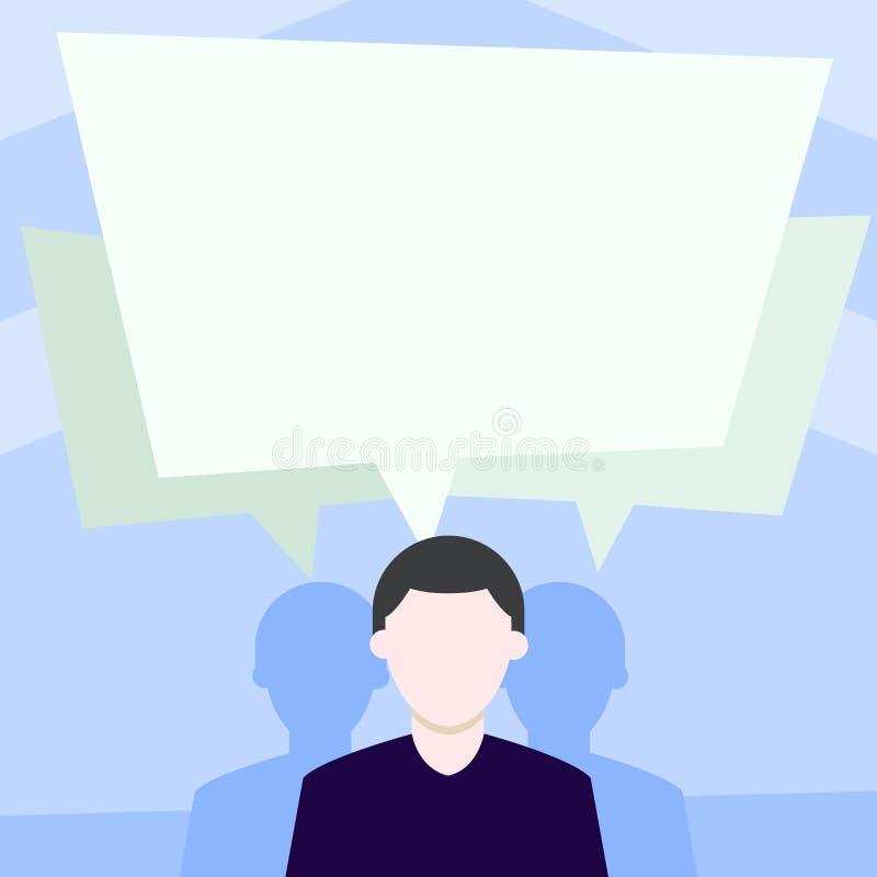 匿名的人有两个阴影,并且其中每一个有他们自己讲话泡影重叠 医疗的创造性的背景想法和 库存例证