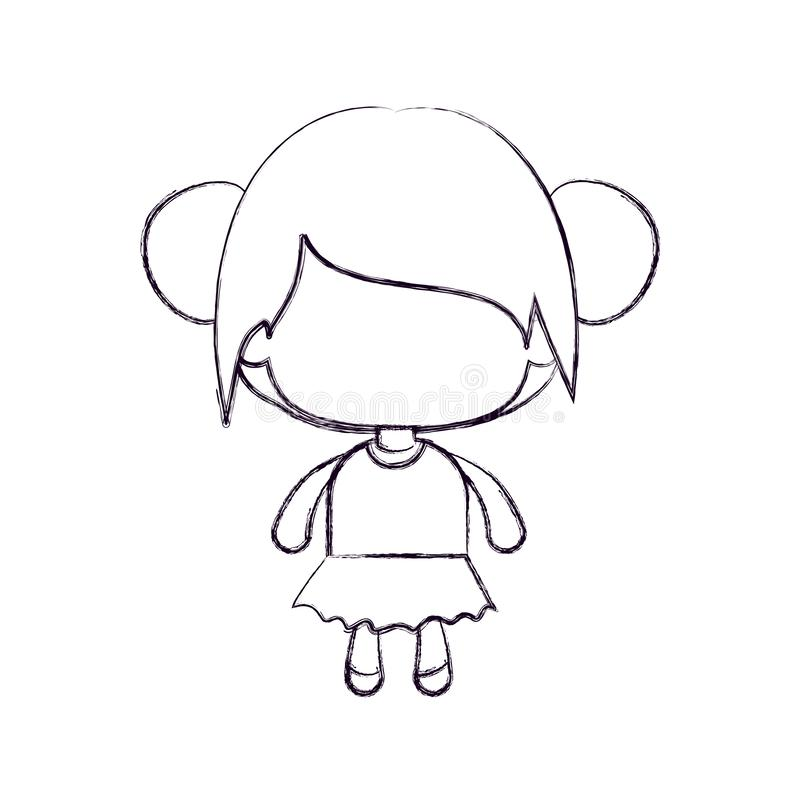 匿名的女孩单色被弄脏的剪影有收集的小圆面包头发的 向量例证