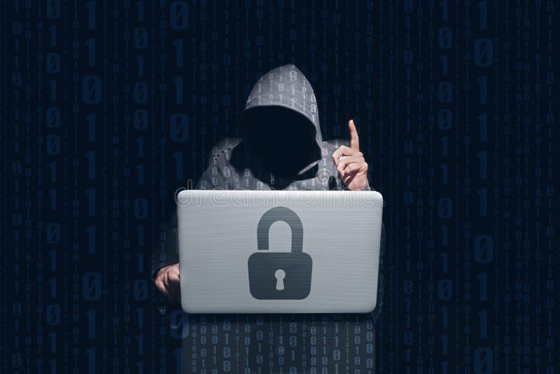 匿名盗版乱砍的和使用的计算机与Th的密码 免版税库存图片