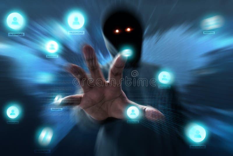 匿名黑客打开秘密数据 免版税库存图片