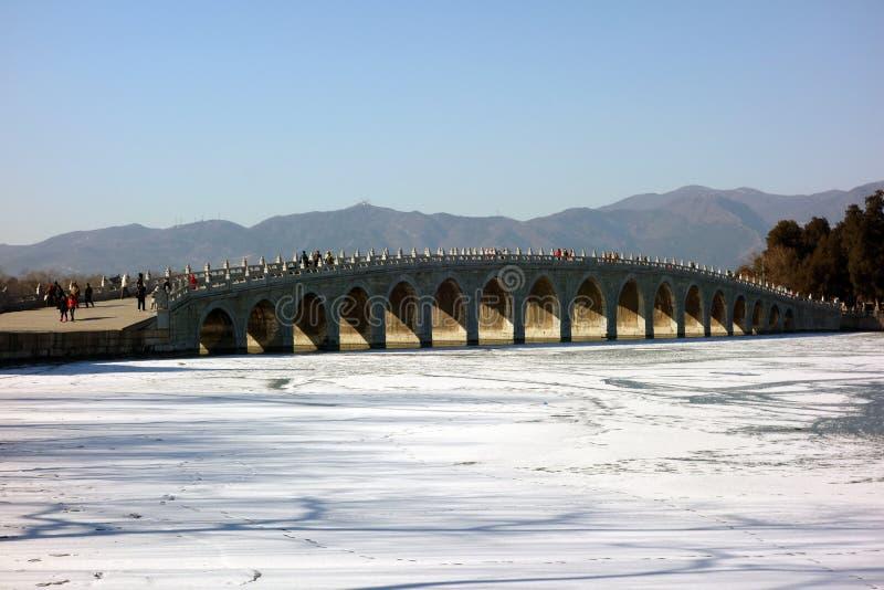 十七曲拱桥梁,颐和园,北京中国 库存照片