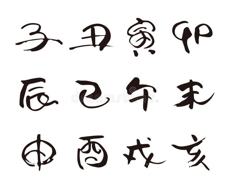 十二中国人黄道带动物标志,绘画的技巧书法 皇族释放例证