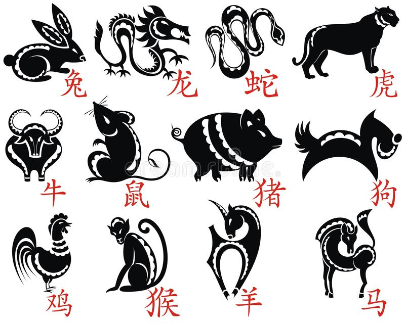 十二中国人黄道带 皇族释放例证