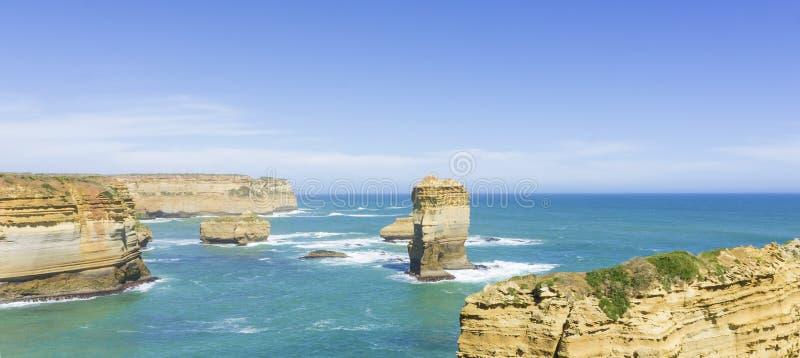 十二位传道者,沿维多利亚海岸, Australi的大洋路 图库摄影