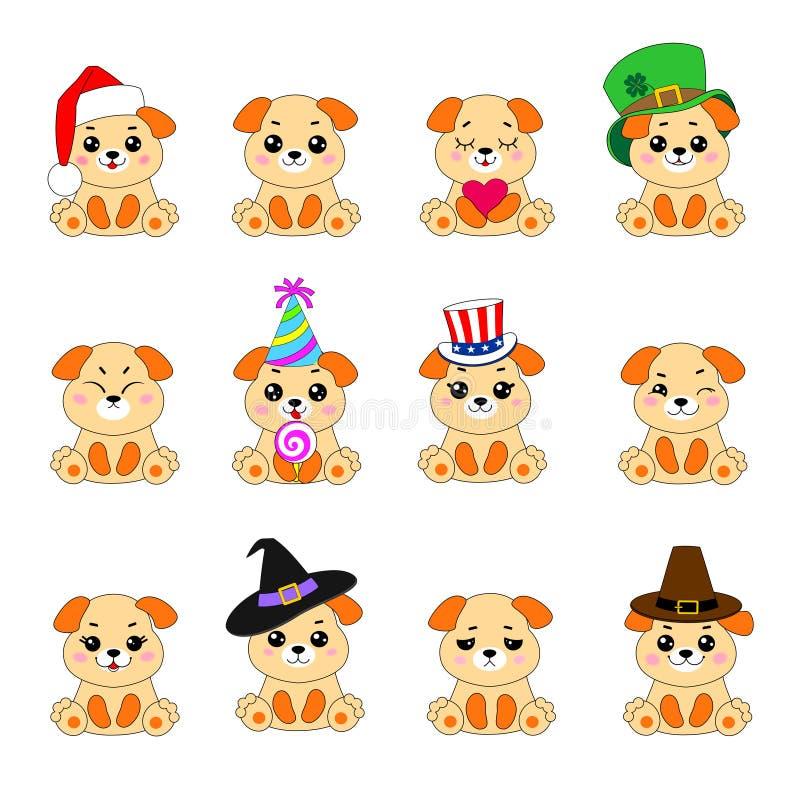 十二条Emoji狗 向量例证